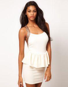 ASOS Peplum Dress with Sequin Straps