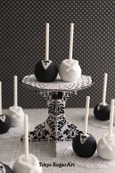 Bride and groom cake pops...let the after party begin!