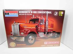 This Kenworth W-900 Conventional Truck Model Kit is made by Revell in 1/16 scale. - Full detail turbo-diesel engine - Dual exhaust stacks and twin mirrors - Sun