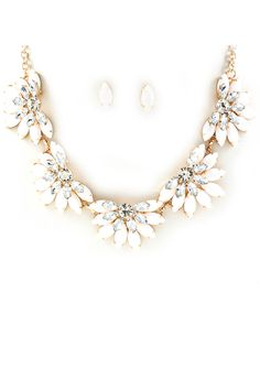 White Marquise Crystal Necklace