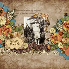 Elsie ~ Lovely heritage digi page with lushly layered flowers and a beribboned lace border frame a vintage photo in this unusually designed layout. Created with Silvia Romeo's 'Sunset' kit.