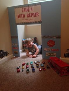 """#Disney Cars Bedroom #toddler boys room.  My son is obsessed with Disney Cars so for his new """"big boy room"""" I wanted to recreate a little piece of Radiator Springs. This is his very own Auto Repair Shop I made with scrap plywood and paint. I printed off some Cars theme logos and made his sign that reads """"if it's smokin' it must be broken"""" watch out Luigi's Casa Della Tires!!!"""