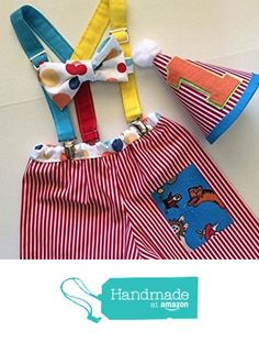 Circus Animal Carnival Stripes and Polka Dot Boys First Birthday Cake Smash Outfit Pants Set with Suspenders and optional Party Hat from Little Lincoln Baby Boutique https://www.amazon.com/dp/B01N7VRNOG/ref=hnd_sw_r_pi_awdo_tCGJybYPVP8N5 #handmadeatamazon