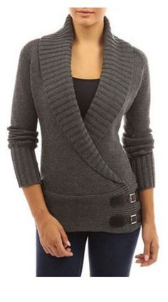 Love the Wide Collar! Love the Side Buckles! Chic Grey Turn-Down Collar Long Sleeve Button Design Knit Sweater #Cozy #Grey #Sweater #Fashion #Comfy #Fall #Style