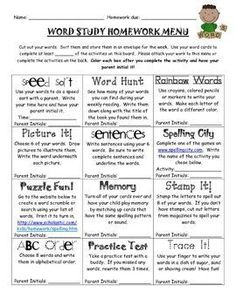 Word Study-Spelling Homework Menu This FREE product is 2 pages long. It is a Word Study-Spelling Homework Menu that your students can use for any spelling words. I use Words Their Way in my first grade classroom. I attach each child's word sort to the m Spelling Practice, Grade Spelling, Spelling Words, Spelling Ideas, Vocabulary Practice, Word Study Activities, Spelling Activities, Literacy Games, Phonics Games
