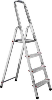 Mit dieser Leiter kommen Sie schnell hoch hinaus! Stufe für Stufe erreichen Sie mit der Krause-Haushaltsleiter aus leichtem Aluminium bis zu 3,65 m Arbeitshöhe und stehen sicher auf den rutschfesten Sprossen. Das Beste: diese Leiter ist einfach aufzubauen und zusammengeklappt gut zu verstauen. Maße * 3 Stufen * Standhöhe: ca. 0,55 m * Gesamtlänge: ca. 1,25 m * max. Arbeitshöhe: ca. 2,55 m * Gewicht: ca. 3 kg * Länge: ca. 1,25 m * Breite: ca. 0,41 m * Tiefe: ca. 0,13 m * 4 Stufen * Standhöhe…