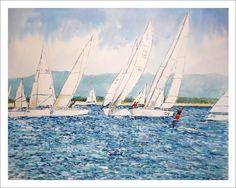 Regata en Santander, acuarela sobre papel. Se pueden apreciar barcos diferentes compitiendo en la regata en los alrededores de la bahía.