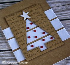 handmade Christmas card by the desert diva ,. kraft and white with red adornments . fun design with strips running under a negative space triange tree . great graphic look . Homemade Christmas Cards, Christmas Tree Cards, Noel Christmas, Homemade Cards, Handmade Christmas, Christmas Lights, Christmas Decor, Mery Crismas, Tarjetas Diy