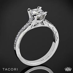 A sleek and smooth princess cut stunner from our latest bridal collection! Tacori Sculpted Crescent Grace for Princess Diamond Engagement Ring