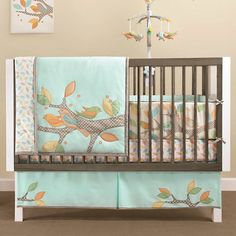 Sophisticated  and soothing, the Little Tree collection is designed with  an enchanting Springtime theme. Beautifully embellished with lively  applique scenes of sweet birds, perched on tree branches, against a  solid blue background. BURLINGTON