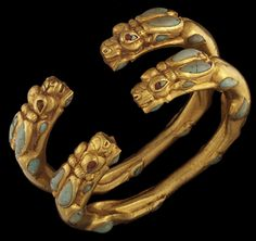 Bracelets, antelope heads.Bactrian gold, 1st century BCE, Bactria, AFghanistan.