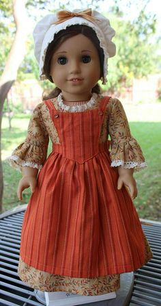 18 Doll Clothes Ready for Fall Colonial Outfit Fits American Girl Felicity, Elizabeth, Caroline Ropa American Girl, American Girl Felicity, My American Girl Doll, American Doll Clothes, Sewing Doll Clothes, Girl Doll Clothes, American Girl Hairstyles, Doll Dress Patterns, Ag Dolls