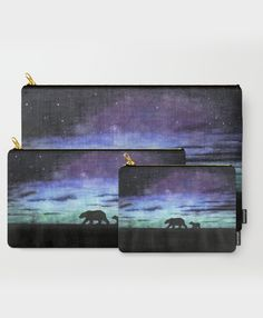"""Aurora borealis and polar bears (dark version)"" Carry-All Pouches by Savousepate on Society6 #pouch #purse #clutch #bag #watercolor #painting #polarbears #auroraborealis #northernlights #northpole #floe #black #blue #purple #green"