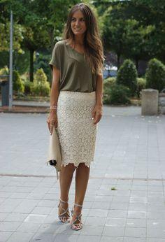 Кружевная юбка-карандаш (60 фото): с чем носить, с кружевом по низу, с завышенной талией, и топ, с кружевными вставками
