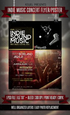 Indie Concert Flyer  Poater  Concert Flyer Flyer Template And