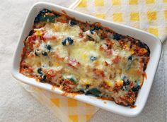 Crispy Quinoa Bake. Use vegetable stock and vegan cheese and it's a vegan comfort food