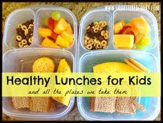 Healthy lunches to send with your little ones. Dairy, egg, and nut free ideas! We take these lunches everywhere!