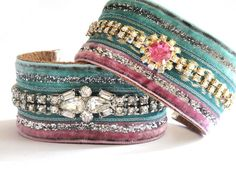 Shabby chic cuff bracelet in pink and mint with a by OOAKjewelz