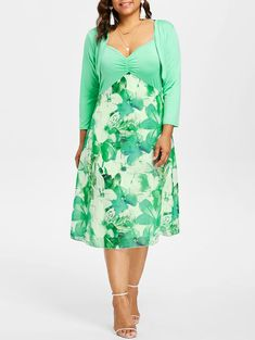 adc60b6219e Plus Size Empire Waist Print Cami Dress - GREEN 5XL Dresses For Sale