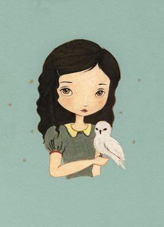 Owl Girl Art - Baby Owl in Robbin's Egg Blue 8x10 Print. $16.00, via Etsy.