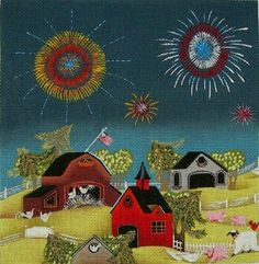 4th of July 2  (hand painted canvases)  Product No: 18566  Supplier Code: EWE-398  Designer/Artist: Blakely Wilson  Publisher: Ewe and Eye O...