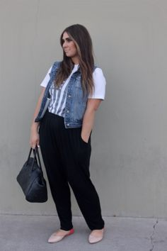 hello apparel american flag tee with cotton trousers and denim vest outfit