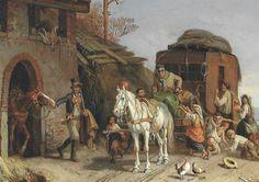 Pferdewechsel an italienischer Poststation Gemälde von Heinrich Bürkel (1802–1869)