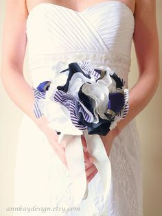 Nautical Wedding Bridal Bouquet with White Blue and Gold Fabric Flowers by AnnKayDesign