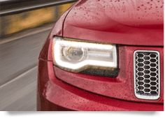 New HID headlamps with signature LED accent and daytime running lamps define the new 2014 Jeep® Grand Cherokee day or night. 2014 Jeep Grand Cherokee, Plymouth Satellite, Jeep Suv, Lamps, Led, Running, Night, Lightbulbs, Keep Running
