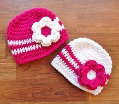 Crocheted Baby Twin Hat Set  Twin Girl/Girl by KaraAndMollysKids, $29.00