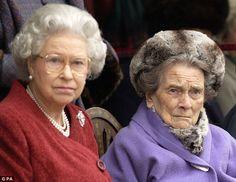 Queen Elizabeth II with her Aunt Princess Alice, Dowager Duchess of Gloucester