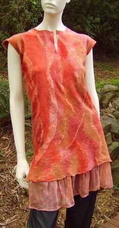 Beautiful Petticoat Tunic, Nuno felt, merino and silk on silk Georgette By Joni Cornell