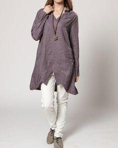 Asymmetric Linen hem split long Coat shirt by MaLieb on Etsy, $89.00