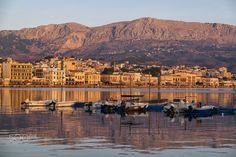 Dawn at Chios main harbor with boats in the foreground and the promenade at the background. Chios Greece, Good Old, Dawn, Grand Canyon, Greek, Island, Explore, Boats, Pride