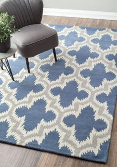$5 Off when you share! Savanna Ikat VE25 Blue Rug | Contemporary Rugs #RugsUSA