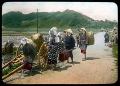 A group of women on a country road  Enami Studio Lantern Slide No : 553.  About 1920's, Japan