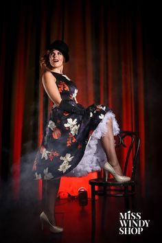 Cabaret! (c)misswindyshop.com #cabaret #theatrical #showtime #dress #floral #black #bowlerhat #heels #petticoat #gloves #fishnet #lights #everydayisadressday #dressrevolution