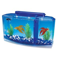 Deluxe Aquarium Tank 0.7-Gallon With Two Color Light System And Opaque Dividers #PennPlax