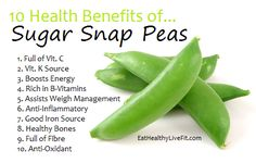 spring—eat some snap peas! Yep…they are in season and they are sweet and delicious and super low in calories. Sugar snap, snow or pod peas—all are filled with fiber, B-vitamins and iron—and all this for a mere 40 calories per cup! Fruit Benefits, Health Benefits, Vegetable Benefits, Health Facts, Health And Nutrition, Nutrition Guide, Natural Cures, Natural Health, Sugar Snap Peas