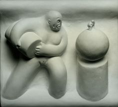 """""""Enlightened Worker"""", 1983, Tom Otterness, American (b. 1952), cast plaster, 10 5/8 x 11 3/8 in. Museum purchase with funds from the Benefactors Fund, 1985. 1985.3661"""