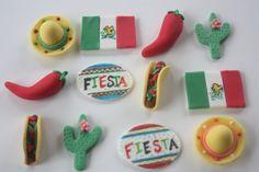 12 Fondant cupcake toppers cinco de mayo--fiesta, chile pepper, taco, Mexican flag, sombrero, cactus