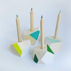 New greenish colours for mini pencilholder #penholder #pencilholder #wood #handmade #design