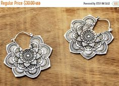 ON SALE Mandala Flower Earrings, Boho Earrings, Gypsy Earrings, Silver Earrings, Indian Earrings, Bohemian Earrings, Tribal Earrings, Indian