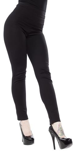 STEADY AUDREY CIGARETTE LEGGINGS - Whoever said leggings are not pants has never worn these Audrey Cigarette Leggings! Made of a stretchy, thick rayon blend these leggings can be substituted any day of the week and stand in as pants with ease. These leggings feature a high waist with large wide waist band and skinny tapered leg. Pair it with your favorite retro top to run all your errands around town.
