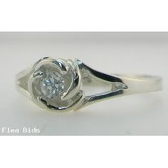 Floral Design Genuine Diamond Engagement Ring 14 kt White or Yellow Gold Sizes 3-10