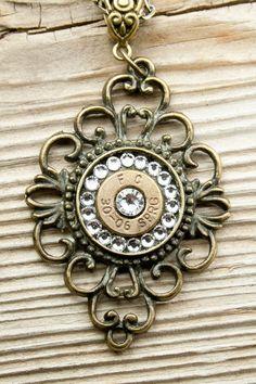30-06 Filigree Bronze Diamond Bullet Necklace with Swarovski Crystals. $24.95, via Etsy.