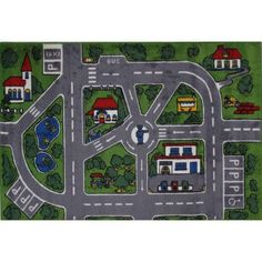 Fun Rugs Streets Kids Rugs, Green