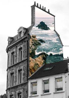 """House"" by Merve Ozaslan. Merve Özaslan's Natural Act collage series shows of… – streetart 3d Street Art, Street Art Graffiti, Collage Kunst, Art Du Collage, Collage Artists, Nature Collage, Graffiti Artists, Travel Collage, Surreal Collage"