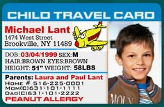 Child Id Card Template Free Inspirational Child Travel Card Id Card Template, Card Templates, Foster Parenting, Kids And Parenting, Emergency Preparedness Kit List, Birth Certificate Template, Personalized Greeting Cards, Card Creator, Travel Cards