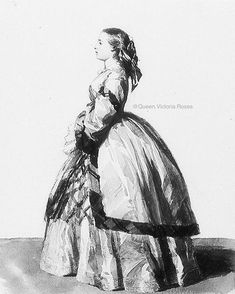 Full length profile portrait of Princess Vicky, painted in 1855 by an unknown artist.@queen.victoria.roses Queen Victoria Children, Queen Victoria Family, Victoria's Children, Christian Ix, Prince Albert, Royalty, Statue, Princess, Artist